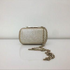 Handbags - Sparkly Glittery Gold Hardshell Chain Clutch